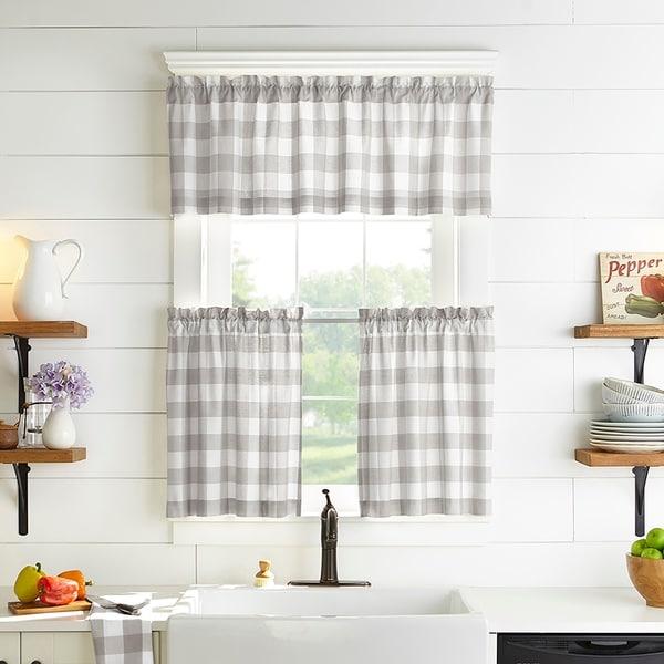 The Gray Barn Emily Gulch Buffalo Check Kitchen Window Tier Set