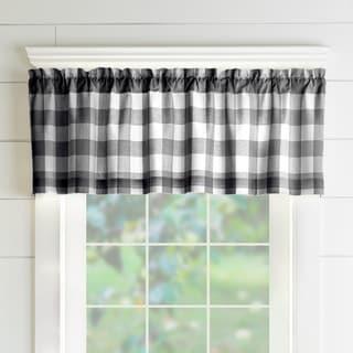 The Gray Barn Emily Gulch Buffalo Check Kitchen Window Valance (60 W x15 L - Black/White)