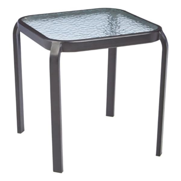 Living Accents Black Metropolitan Round Glass End Table
