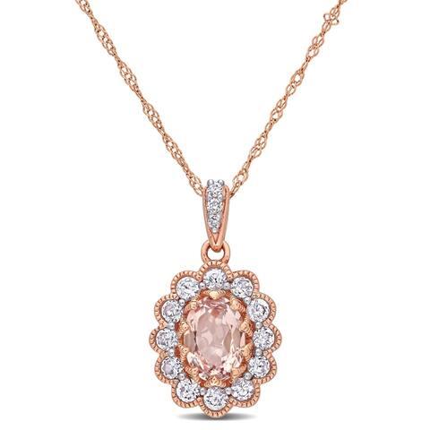 Miadora 10k Rose Gold Morganite White Sapphire and Diamond Floral Halo Drop Necklace
