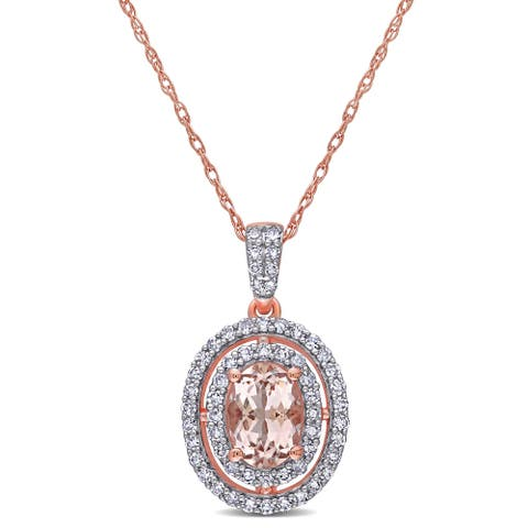 Miadora 14k Rose Gold Morganite and 1/3ct TDW Diamond Double Halo Necklace
