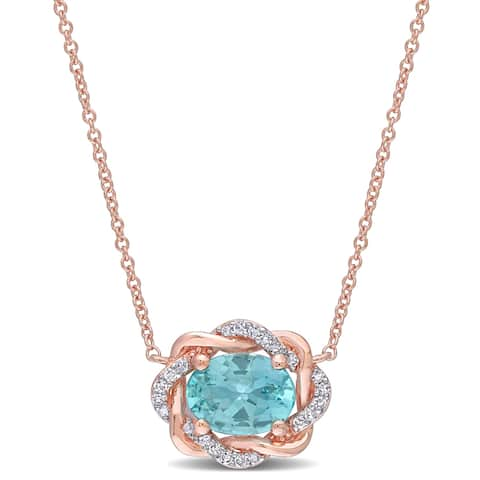 Miadora 10k Rose Gold Apatite and 1/10ct TDW Diamond Swirl Halo Necklace