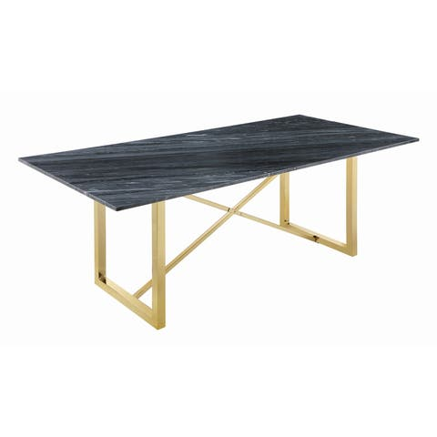 """Silver Orchid Amann Marble Rectangular Dining Table - 80"""" x 38"""" x 30"""""""