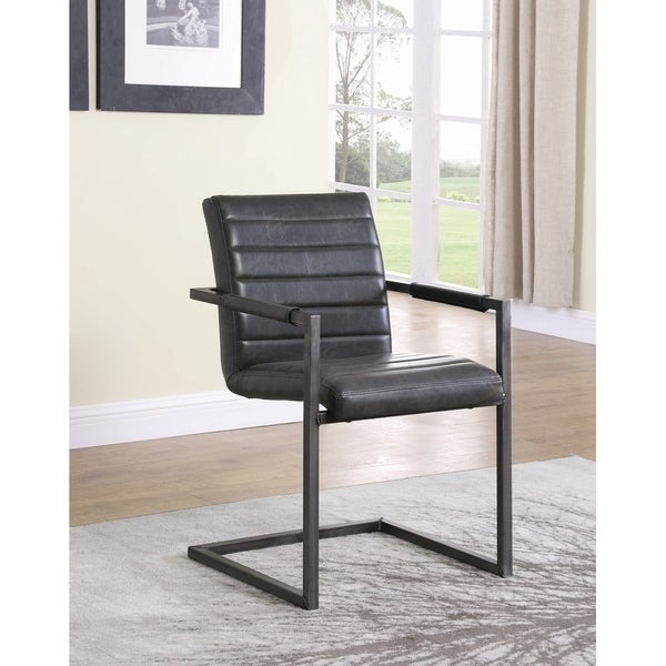 """Carbon Loft Overstreet Weathered Black Upholstered Desk Chair - 21.75"""" x 24"""" x 33.50"""""""