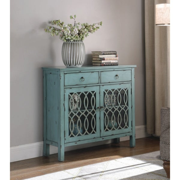 The Curated Nomad Landsend Blue Lattice 2-drawer Accent Cabinet
