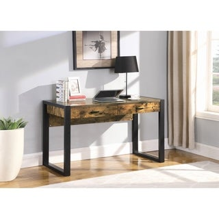 Carbon Loft Hisaw Antique Nutmeg and Black 2-drawer Writing Desk