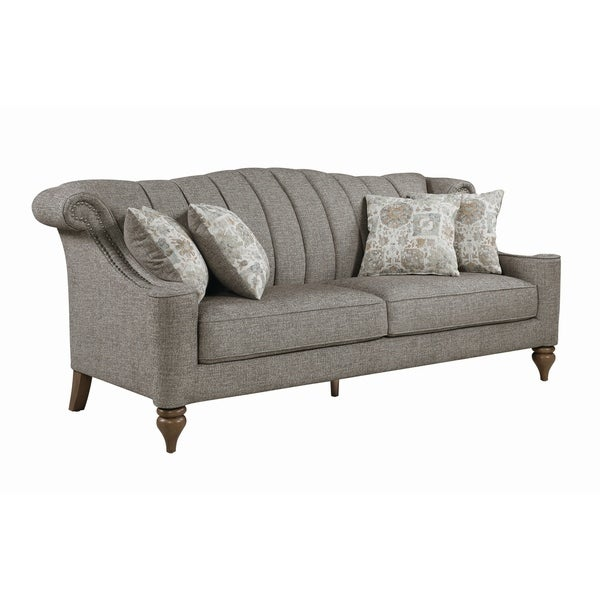 "The Gray Barn Crooked Sky Light Brown Upholstered Nailhead Sofa - 87"" x 36"" x 39.50"""