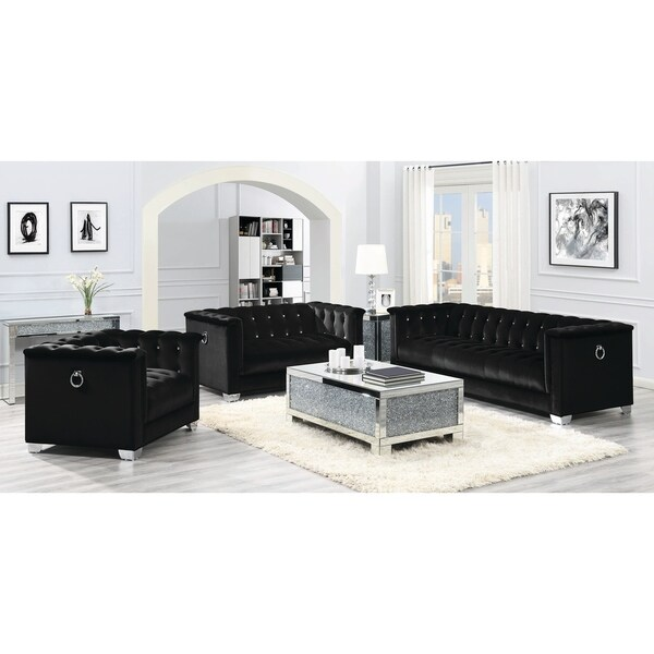 Strick & Bolton La Rose Black 3-piece Living Room Set