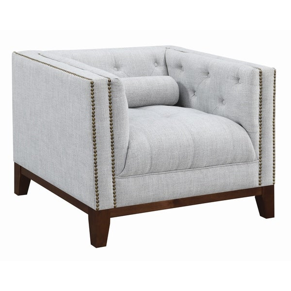 Light Grey Accent Chair: Shop Gracewood Hollow Humo Light Grey Upholstered Tufted