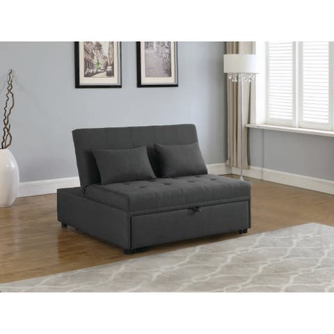 Porch & Den Wisbey Grey Upholstered Sleeper Sofa Bed