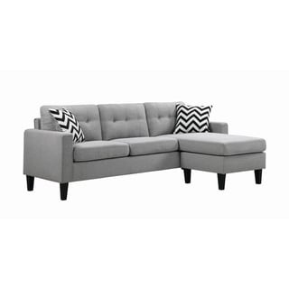 """Porch & Den Tipton Light Grey Upholstered Tufted Reversible Sectional - 83.75"""" x 54.50"""" x 33.25"""""""