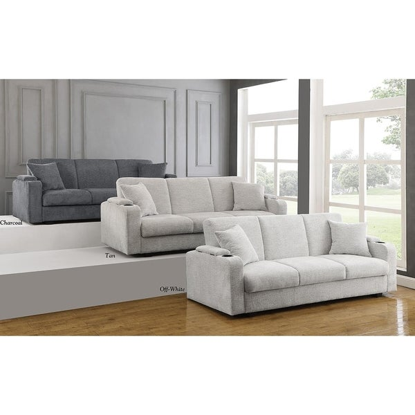"Porch & Den Tina Beige Upholstered Sofa Bed - 84.50"" x 34.50"" x 33.75"""