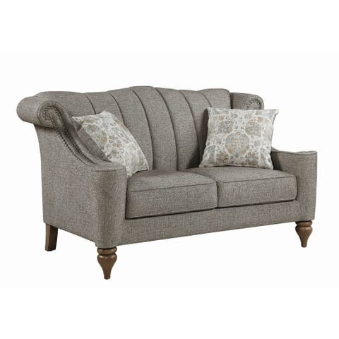 """The Gray Barn Crooked Sky Light Brown Upholstered Nailhead Loveseat - 64"""" x 36"""" x 39.50"""""""