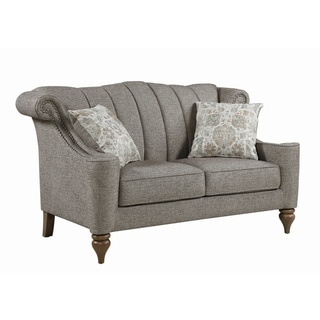 "The Gray Barn Crooked Sky Light Brown Upholstered Nailhead Loveseat - 64"" x 36"" x 39.50"""