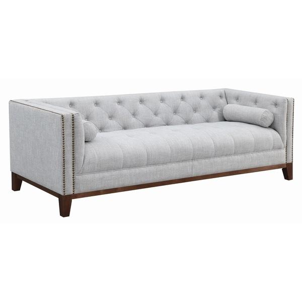"Gracewood Hollow Humo Light Grey Upholstered Tufted Sofa - 89.75"" x 34.25"" x 29.50"""
