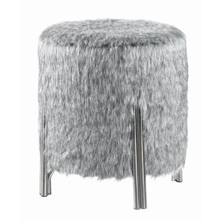 Strick & Bolton Teddy Grey and Chrome Upholstered Ottoman