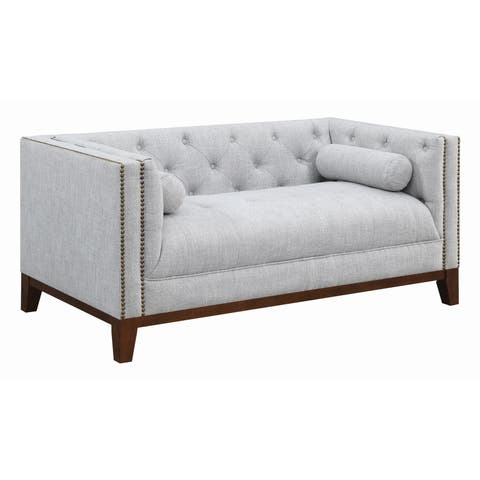 "The Gray Barn Blue Dasher Light Grey Upholstered Tufted Loveseat - 63.50"" x 34.25"" x 29.50"""