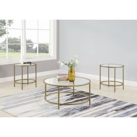 The Curated Nomad Cyrus 3-piece Glass Top Occasional Table Set