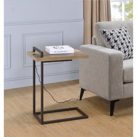 """Carbon Loft Corvalan Weathered Pine Rectangular Accent Table with USB Port - 11.50"""" x 19"""" x 26"""""""