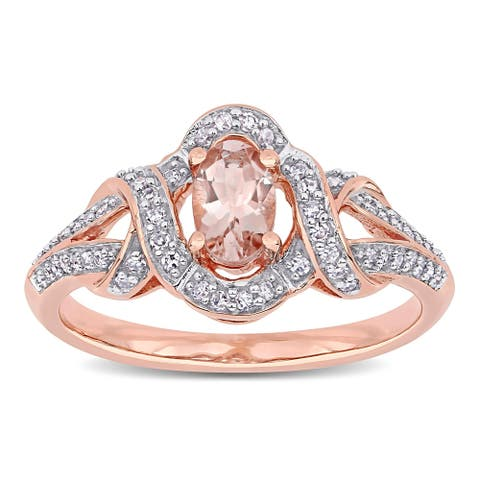Miadora 10k Rose Gold Oval-cut Morganite and 1/5ct TDW Diamond Interlaced Halo Engagement Ring