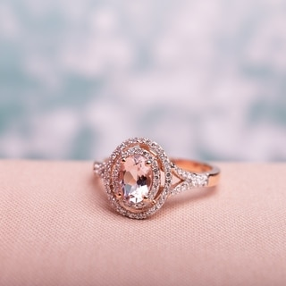 Link to Miadora 14k Rose Gold Oval-cut Morganite and 1/4ct TDW Diamond Double Halo Engagement Ring Similar Items in Rings