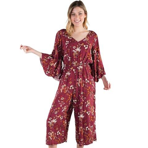 Women's Eyeshadow Floral Culotte Jumpsuit
