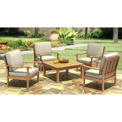 5-piece Oak Wood Finish Patio Set with Cushions