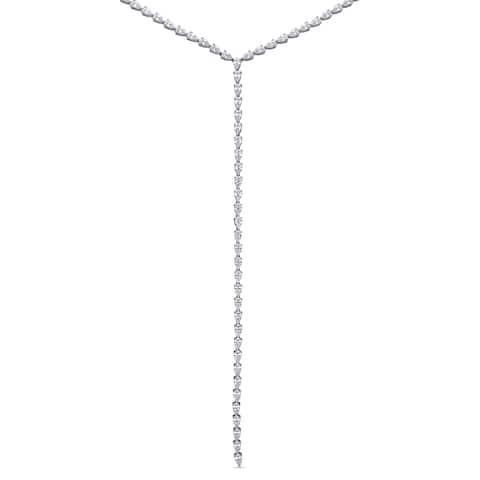 Miadora Sterling Silver 22ct TGW Pear-Cut Cubic Zirconia Lariat Y-Necklace
