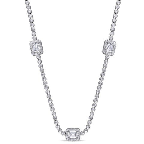 Miadora Sterling Silver 15ct TGW Emerald and Round-Cut Cubic Zirconia Station Necklace