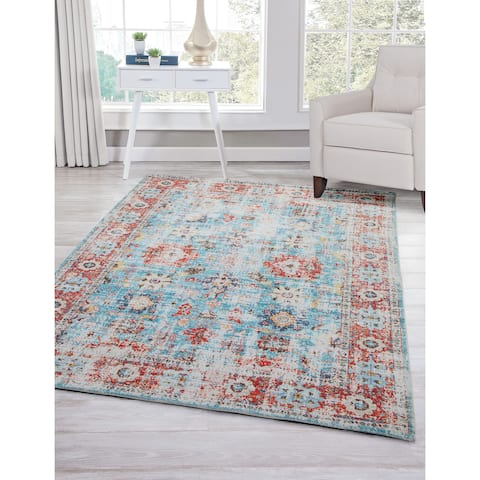 Lyons Red/Blue/Multi Area Rug by Greyson Living