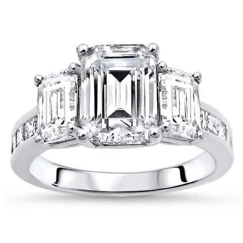 14k White Gold 2 1/4ct Moissanite 1/2ct TDW Diamond 3-stone Engagement Ring