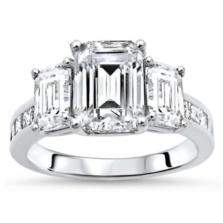 3 1/4ct Emerald Cut 3 Stone Moissanite Diamond Engagement Ring 14k White Gold