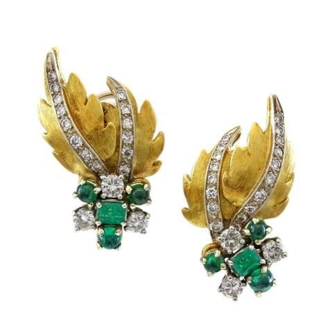 18 Karat Yellow Gold Leaf Themed Estate 1 CT Diamond Earrings (I-J,SI1-SI2)