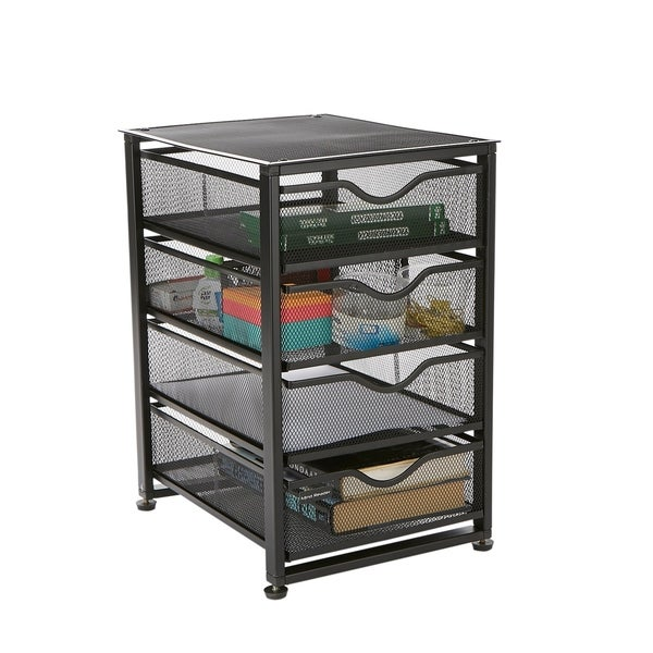 Shop Mind Reader 4-Tier Drawer Rolling Mesh Office Cart, File Storage Cart, Utility Cart, Heavy ...