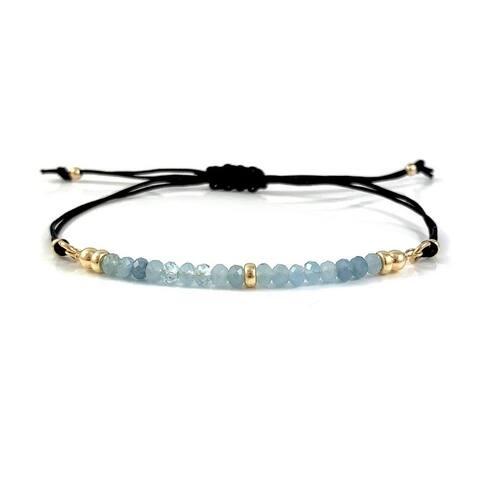 Handmade Pisces Birthstone Aquamarine Gem Bar Adjustable Black Cord Bracelet 7.5 Rebecca Cherry USA
