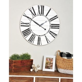 Oversized White Farmhouse Wall Clock
