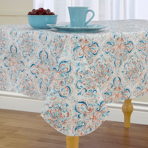 Lola Medallion Stain Resistant Vinyl Tablecloth