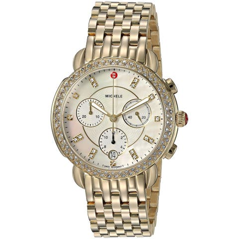 Michele Sidney Chronograph Diamond Gold-Tone Ladies Watch MWW30A000008