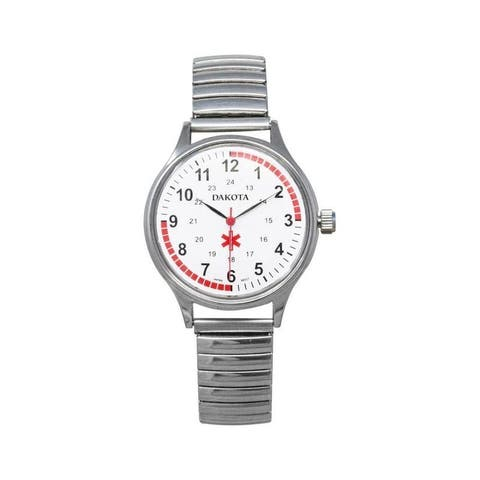 Dakota Midsize Stainless Steel Expansion Band Nurse Watch (35mm Diameter)