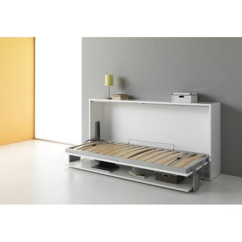 Ortis White Wood Murphy Bed with Mattress Size - Twin
