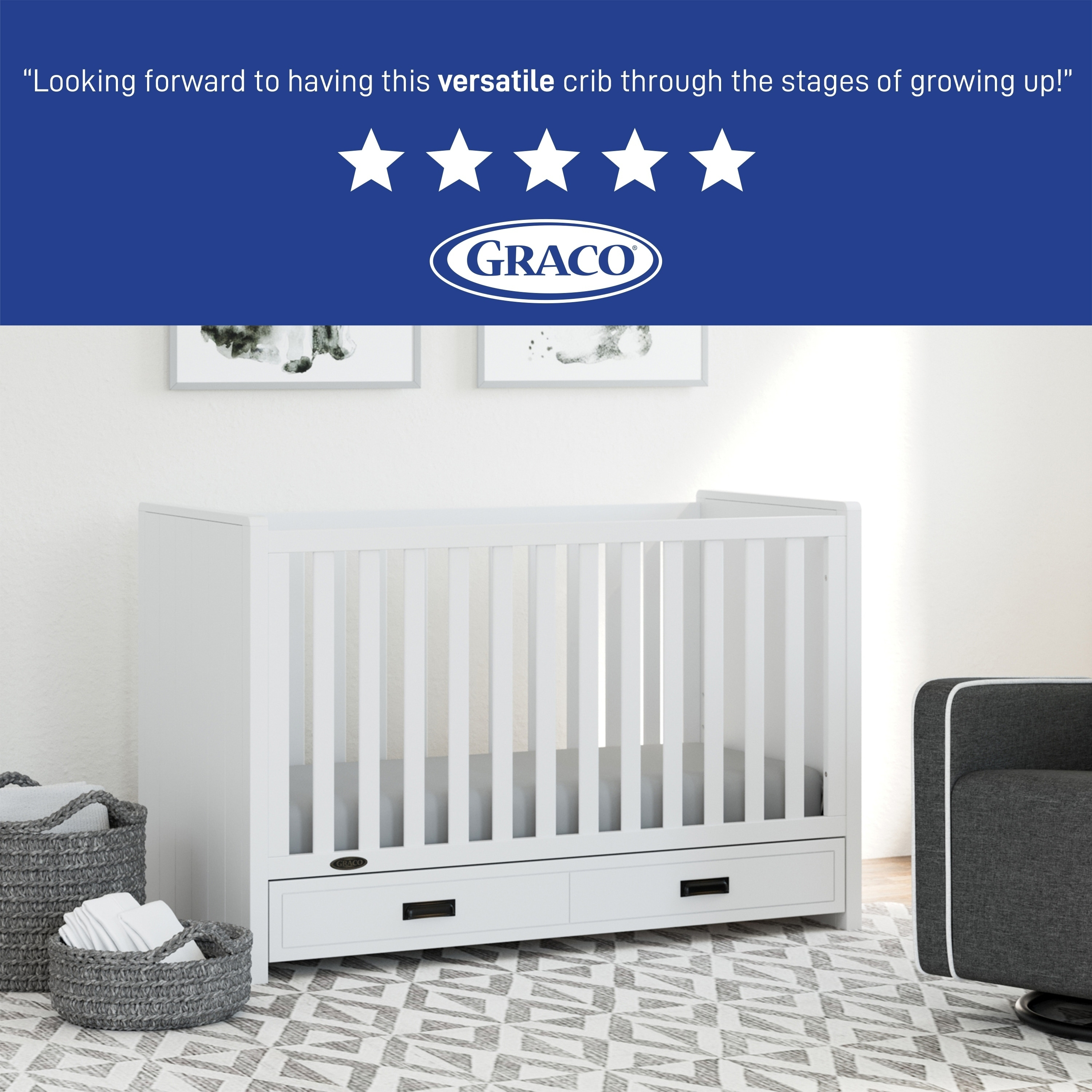Shop Graco Cottage 3 In 1 Convertible Crib White Easily Converts To Toddler Bed Or Day Bed Overstock 28110688 White