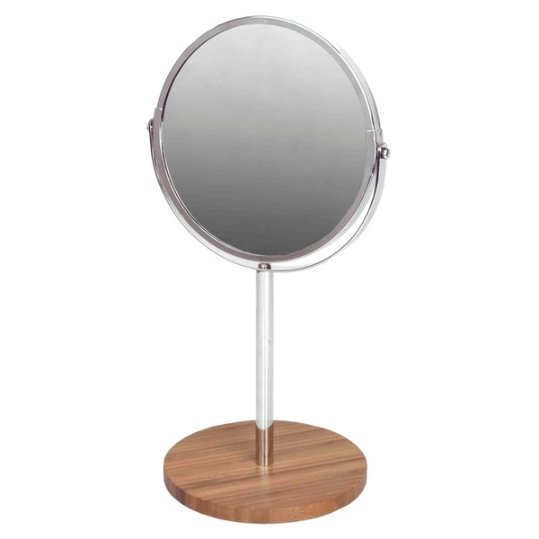 Chrome Plated Steel Cosmetic Mirror with Bamboo