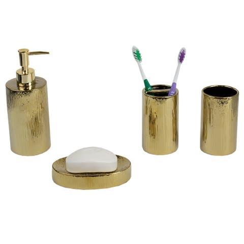 4 Piece High Gloss Textured Ceramic Modern Bath Accessory Set, Gold