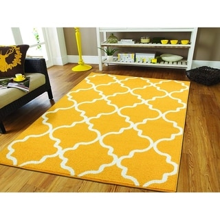Copper Grove Rovaniemi Lemon Yellow Moroccan Trellis Area Rug