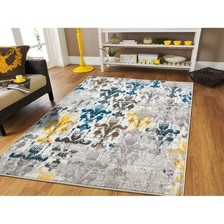 Copper Grove Saarijarvi Distressed Ivory, Charcoal, Blue, and Yellow Area Rug