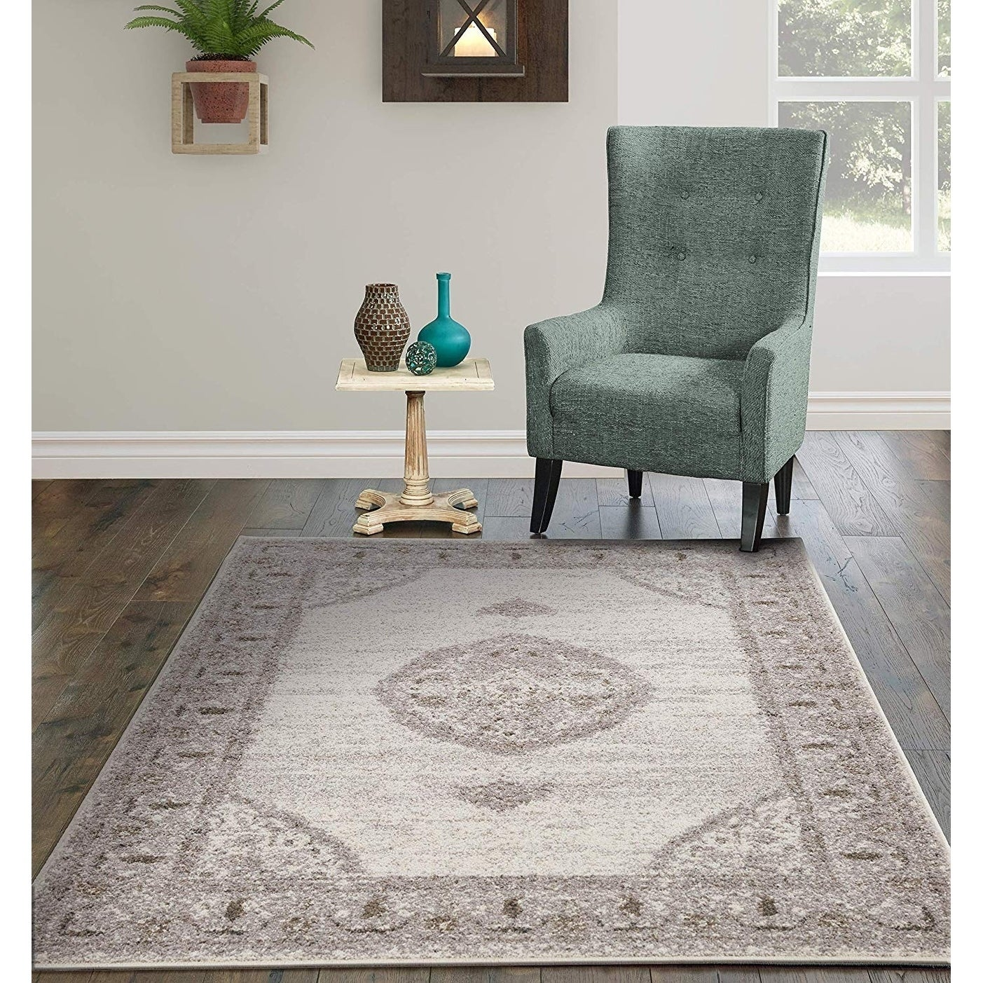 Shop Copper Grove Siuntio Distressed Cream And Grey Area Rug On