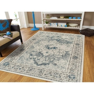 Porch & Den Gargany Blue Distressed Medallion Area Rug