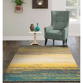 Porch & Den Guild Yellow and Blue Abstract Stripe Area Rug