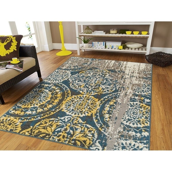 Porch & Den Garibaldi Large Yellow, Grey, and Blue Distressed Multi-Medallion Area Rug