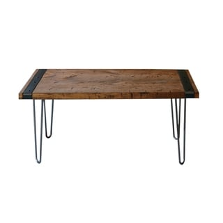 Brown Wood Stained Industrial Coffee Table